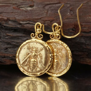 925 Sterling Silver Bee Coin Earrings Hammered Turkish Jewelry By Omer