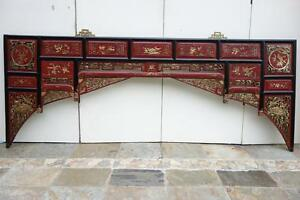 Chinese Antique Carved of Wedding Bed Partially Gilded Wth Gold Leaf 19c