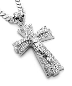 Mens Large Cross Silver Plated Iced Out Pendant 30