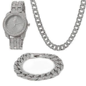 Men Silver Plated ICED OUT Cuban Chain w Fully CZ Bling Bracelet