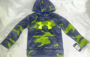 nwt boys Under Armour hoodie size 4 green gray camo