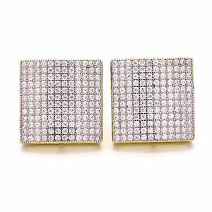 Gold Plated 925 Sterling Silver Stud 15mm 12 Row Dome Square Screw Back Earrings