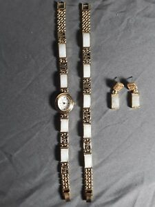Vintage Women's Gem Time Watch  bracelet  and earring set