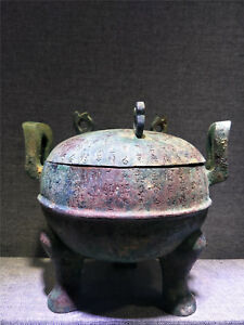 Chinese bronze pot Tripod  vessel with inscriptions handle dynasty covered pots