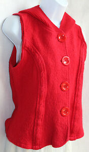 COLDWATER CREEK Red Boiled Wool Front Hoodie Vest Sz S BIG Buttons Knit Back