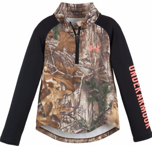 UNDER ARMOUR GIRLS SIZE 5 REALTREE HUNT 14 ZIP PULLOVERTOP CAMOBLACK NWT