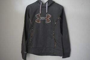 Under Armour Youth Boys Medium Pullover Camo Logo & Trim Front Pocket LS Hoodie