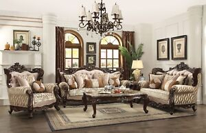 Traditional Earth Tone Living Room Furniture Sofa Set Exposed Carved Wood Frames $4098.00