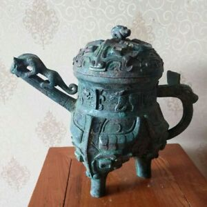 Chinese bronze pot HE pots whorl&beast veins covered handle dynasty pots
