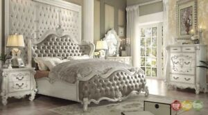 Versailles Traditional Vintage Taupe 6pc White Tufted King Bedroom Set wChest