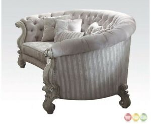 Versailles Formal Oval Sofa In Bone White Button Tufted Velvet