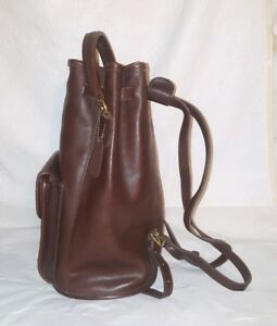COACH Vintage Brown Leather Top Handle Drawstring Bucket Daypack Backpack # 9992