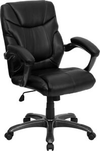 Mid Back Black Leather Overstuffed Office Chair