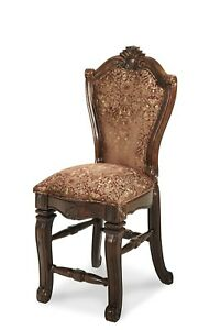 Set of 2 Windsor Court Classic Brown Fabric Counter Height Chair in Fruitwood