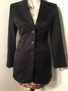 ESCADA Black Pinstripe Long Wool Blazer Jacket 36 6 Luxury Womens ~Designer~