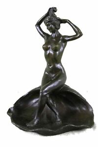 Bronze Metal Ashtray w Figure of Nude Girl  9