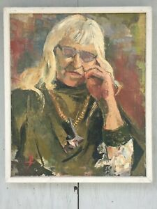 PEARL TOOK FEMALE PORTRAIT HIPPIE ART GURU WOMAN OIL SANTA CRUZ CALIFORNIA 1973