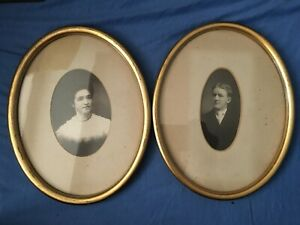 Antique Portraits of Young Man and Woman Gilded Frames Kauffman#x27;s Art Shop PA $22.00