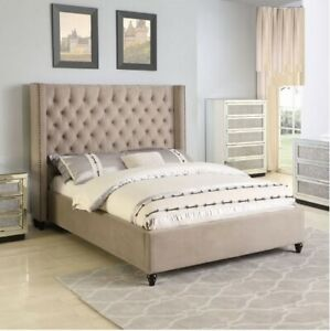 Beautiful Design California King Size Bed Bedroom Furniture 4pc Set Casual Beige
