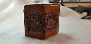 Mens handmade leather bifold wallet