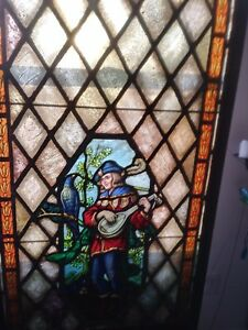 ANTIQUE LARGE 19th C. American Victorian JESTOR stained and leaded glass  window