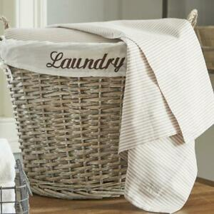 17.5 In W X 14.3 In D X 13 In H Wicker Laundry Basket With White Liner Handwoven