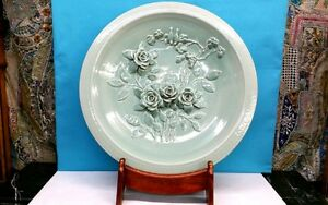 CHINESE LARGE CELADON ROSE FLORAL PLATE 26