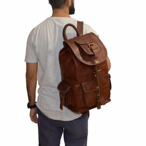 Backpack Travel Luggage Leather Hiking Camping Bag Genuine Brown Rucksack
