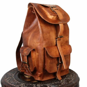 Goat Leather Backpack Travel Rucksack Luggage Hiking Camping Bag Genuine Brown