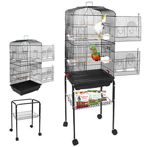 59'' Rolling Bird Cage Parakeet Finch Budgie Conure Lovebird House with Stand