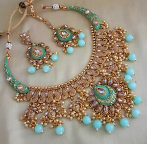 Gold Plated Indian Bollywood Bridal Green Red Kundan Choker Necklace Earring Set