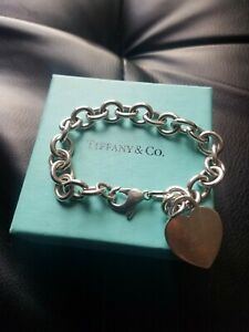 Tiffany & Co Heart Tag Charm Chain Link Bracelet 925 Sterling Silver No Reserve