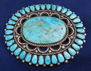 NATIVE AMERICAN STERLING Large TURQUOISE n Cabs HANDMADE Vintage PIN Estate