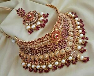 Traditional Jewellery Bollywood Bridal Kundan Red Choker Necklace Earrings Set