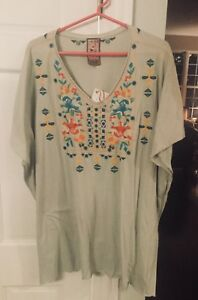 JOHNNY WAS V Neck Poncho Cotton Top - XS - Cap Sleeve - Sand W Embroidery- NWT