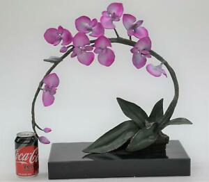 Realistic Bronze Metal Purple Orchid Flower Sculpture Limited Edition 20