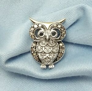 Beautiful 14K Karat Solid Two Tone Gold Owl Charm Pendant With Diamonds