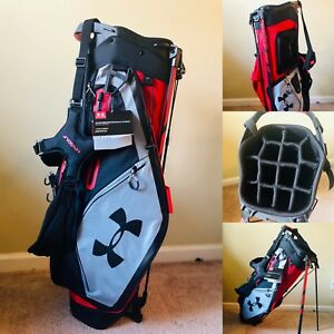 New with Tags Under Armour Storm Match Play 14 Way Stand Golf Bag Red Black Gray