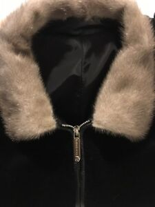 Luxury Mink Fur Collar Cashmere Jacket With Leather Trim Large