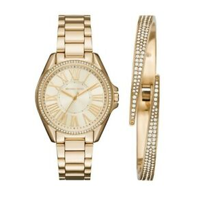 Michael Kors MK3568 Kacie Gold Watch Glitz Bezel and Pave Bracelet Set 39mm NEW