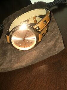 Womens Michael Kors Rose Goldbrown Leather Stud Bracelet Wrap Watch