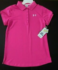 Under Armour Heat Gear Fitted Hot Pink Polo Shirt girls YXL MSRP $34.95