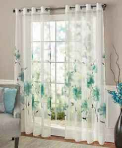 Pretty Watercolor Floral Window Covering Curtains Choose Teal Taupe Or Violet