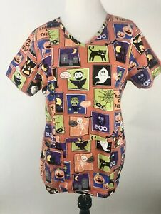 Halloween Scrub Top S Orange Pumpkins Trick Treat Short Sleeve Nurse Medical CNA
