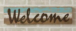 New Cottage Shabby Chic Rustic Beach House WELCOME SIGN Blue Ship Lap 24quot;