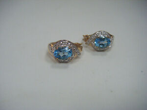 Blue Topaz & Diamond Accent Sterling Silver Gold Plate Hoop Earrings