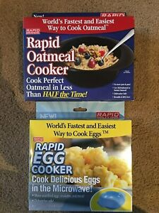 Lot of 2 EGG and Oatmeal Microwave Cooker - As Seen On TV! Reusable and BPA FREE