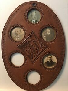 Antique Photographs In Leather Frame Family Photo#x27;s Set 4 Photos in Oval frame $24.99