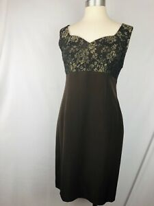 Clifford Michael Design Little Brown Dress Size 6 Lace Top 100%Silk Cocktail NWT