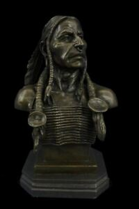 Native American Indian Chief Bronze Metal Bust Sculpture 14